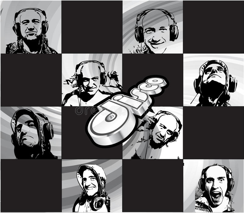 Aviador de Discoteque con muchas siluetas de DJ libre illustration