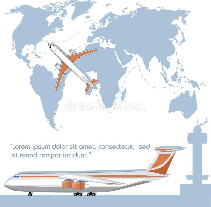 Aviador de la aviación con el aeroplano del jet stock de ilustración