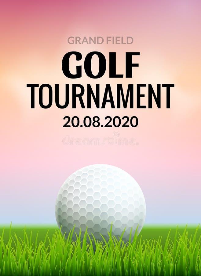 Aviador de la plantilla del cartel del torneo del golf Pelota de golf en la hierba verde para la competencia Diseño del vector de ilustración del vector