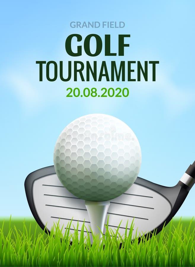 Aviador de la plantilla del cartel del torneo del golf Pelota de golf en la hierba verde para la competencia Diseño del vector de libre illustration