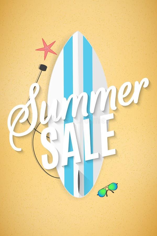 Aviador de la venta del verano Hola verano Tabla hawaiana en la playa Playa de la arena Para su proyecto del negocio Descuentos g ilustración del vector