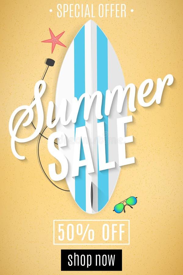 Aviador de la venta del verano Tabla hawaiana en la playa Playa de la arena Para su proyecto del negocio Descuentos grandes Estre ilustración del vector