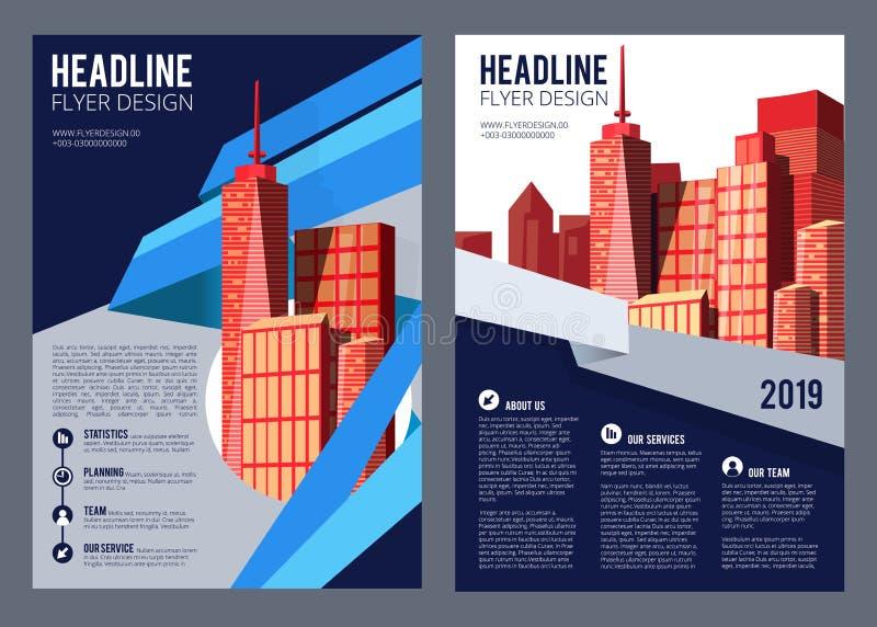 Aviador de Real Estate Casas modernas del prospecto de la compañía del edificio de la cubierta del folleto y diseño arquitectónic ilustración del vector