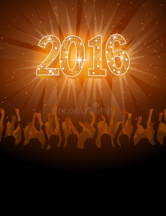 aviador del disco de la Feliz Año Nuevo 2016 ilustración del vector
