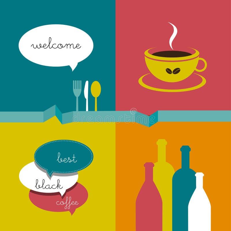 Aviador del menú del café stock de ilustración