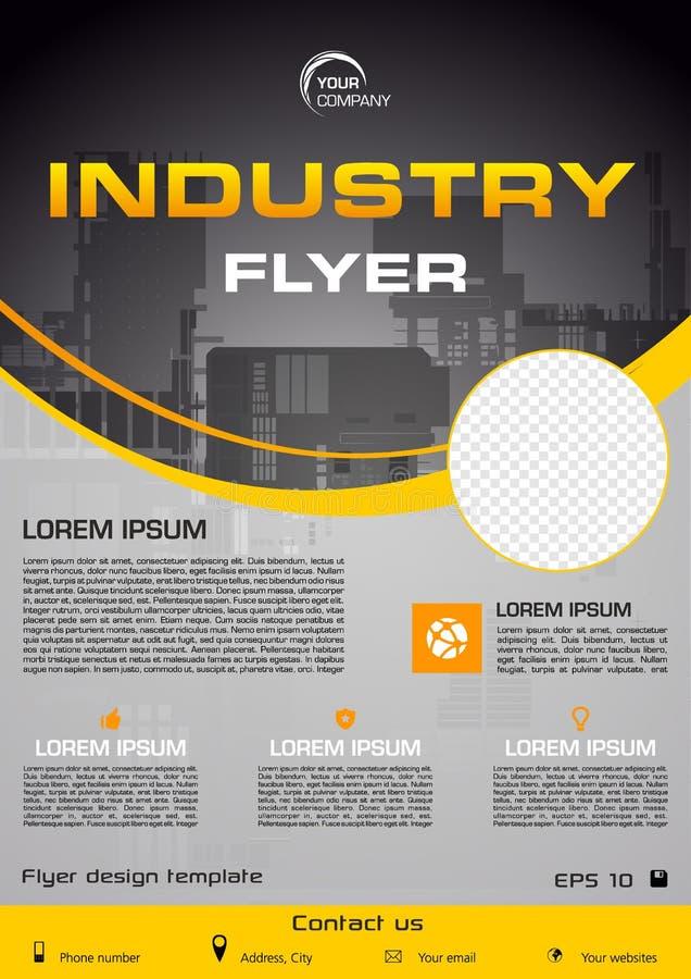 Aviador del vector, negocio corporativo, informe anual, diseño del folleto y presentación de la cubierta con la ciudad de la indu stock de ilustración