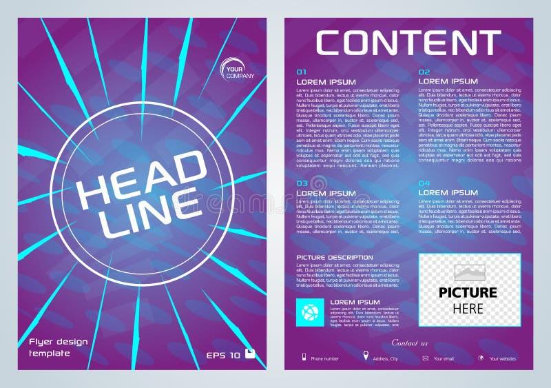 Aviador del vector, negocio corporativo, informe anual, diseño del folleto y presentación de la cubierta con la línea azul en el  libre illustration