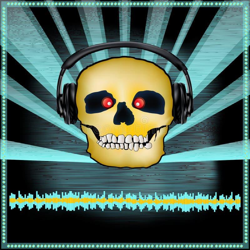 Aviador determinado de DJ del cráneo stock de ilustración