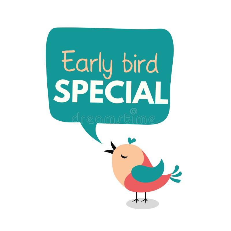 Aviador especial del pájaro temprano o plantilla del diseño de la bandera Promoción temprana del descuento del pájaro Ilustración stock de ilustración