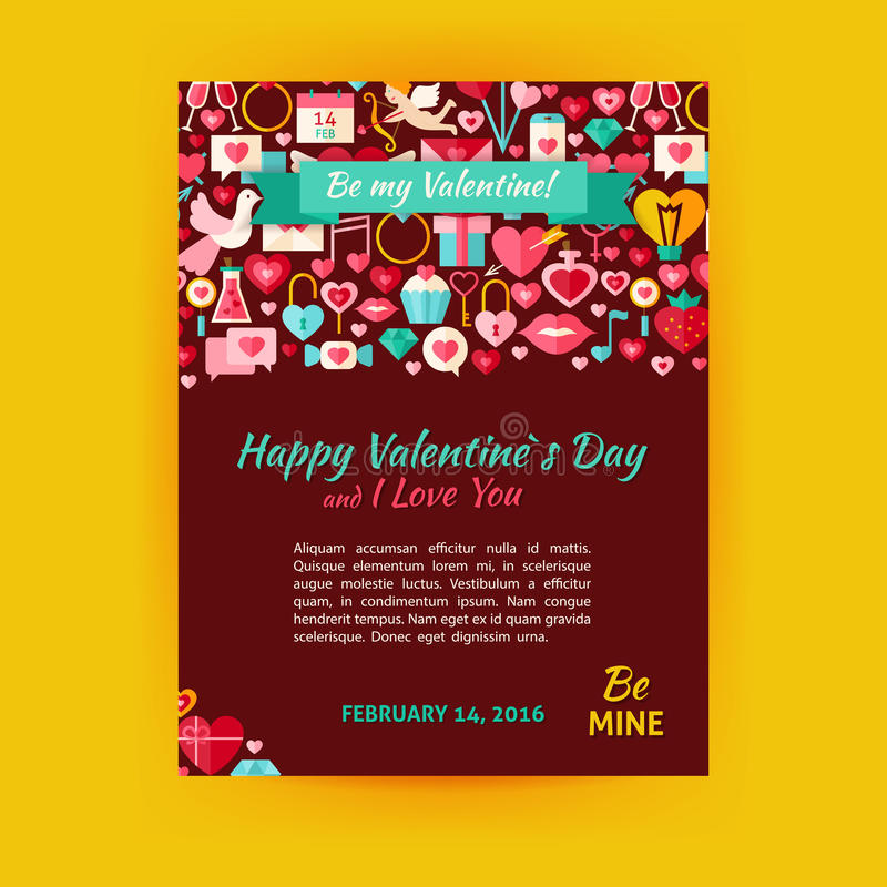 Aviador feliz de la bandera de Valentine Day Holiday Vector Template moderno stock de ilustración