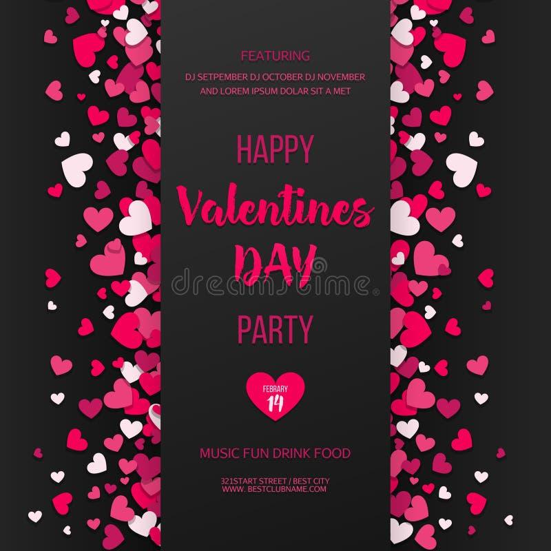 Aviador feliz do partido do dia de Valentim Convite da festa do amor e dos corações Rosa e corações lisos vermelhos no fundo pret ilustração do vetor