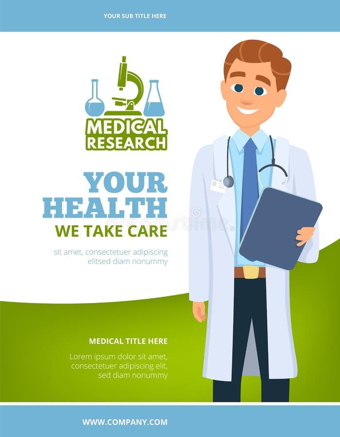 Aviador médico Doctor en el concepto blanco de la atención sanitaria de la capa que hace publicidad del diseño de página con el l libre illustration