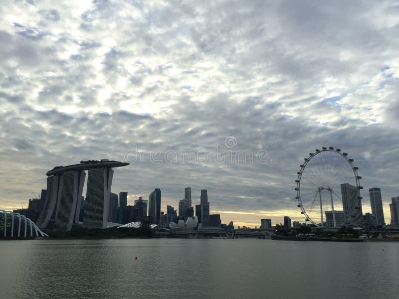 Aviador Marina Bay Sands Skyline de Singapur fotografía de archivo