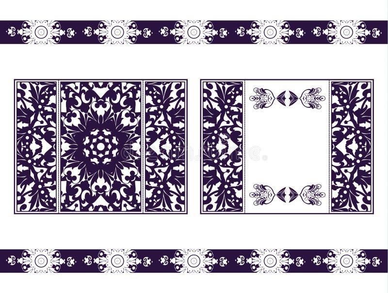 Aviador para la mandala del corte del laser Tarjeta de papel del vector con el modelo púrpura, carmesí del cordón Invitaciones de ilustración del vector