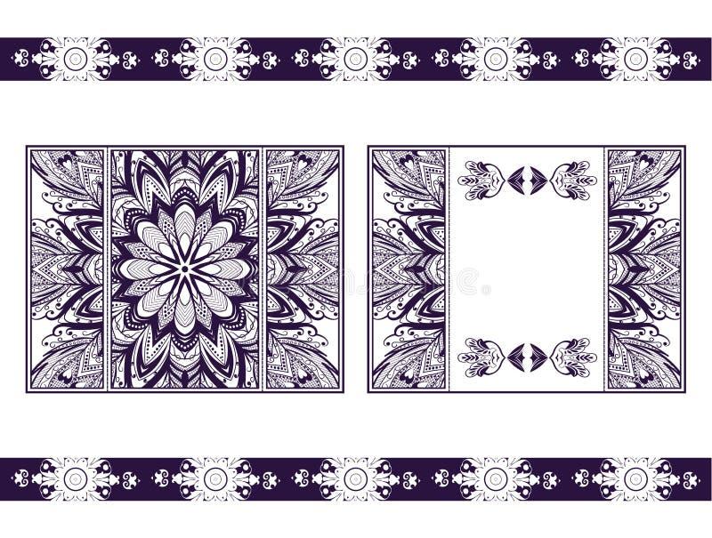 Aviador para la mandala del corte del laser Tarjeta de papel del vector con el modelo púrpura, carmesí del cordón Invitaciones de stock de ilustración
