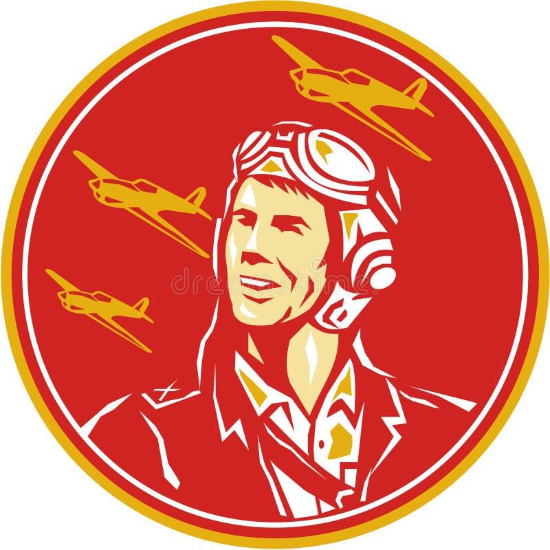 Aviador piloto Fighter Plane Circle da guerra mundial 2 retro ilustração stock