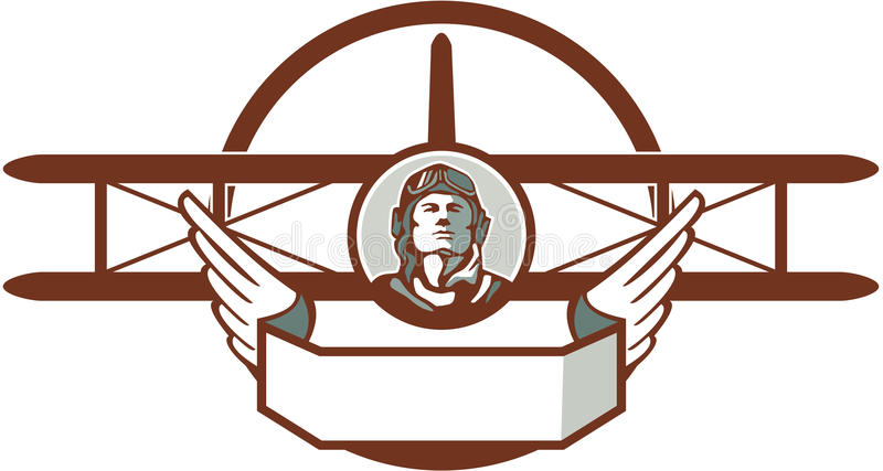 Aviador piloto Spad Biplane Circle da guerra mundial 1 retro ilustração stock