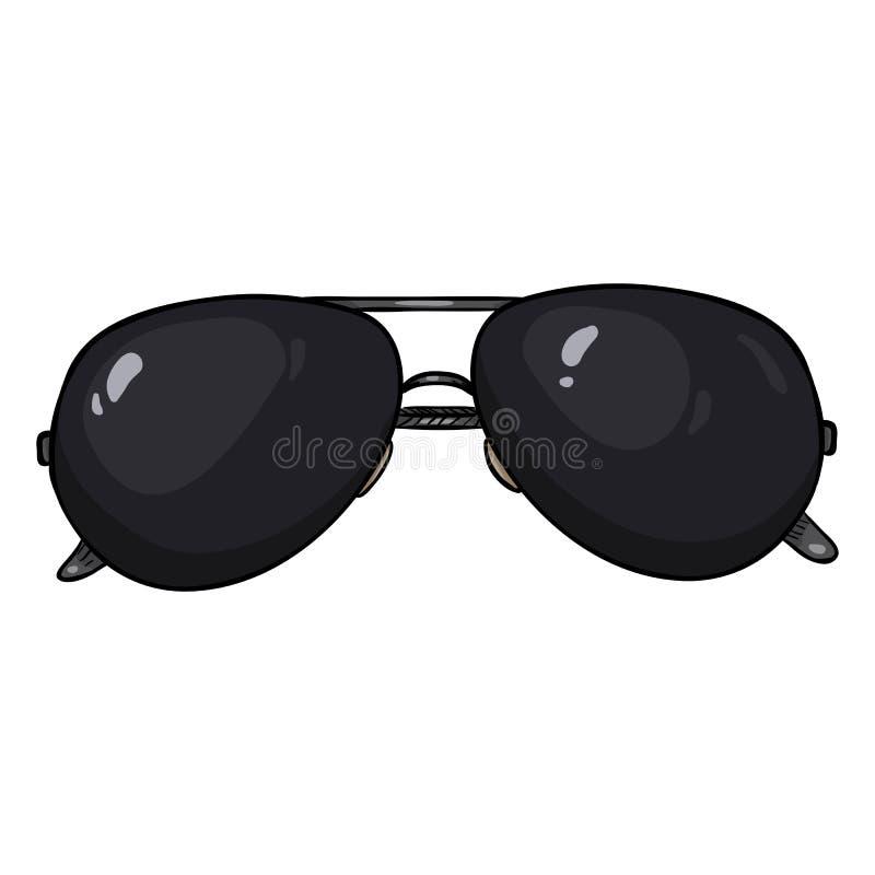 Aviador Sunglasses del negro de la historieta del vector en borde del metal libre illustration
