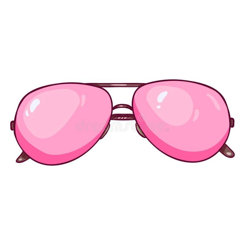 Aviador Sunglasses del rosa de la historieta del vector stock de ilustración