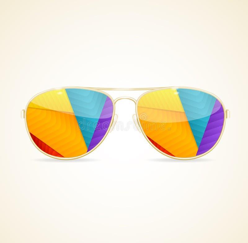 Aviador Sunglasses Gold Concept Vector libre illustration