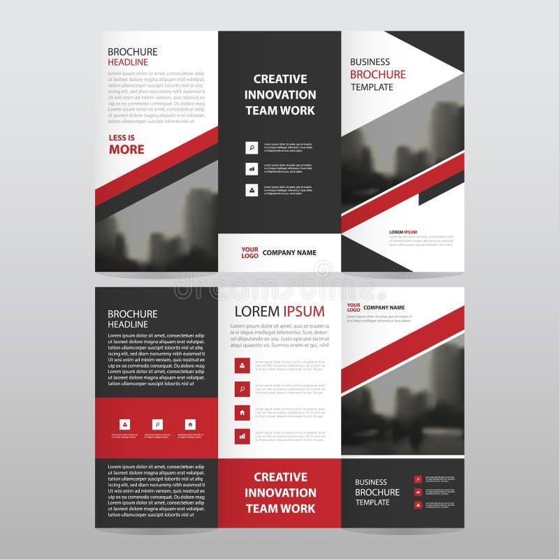 Aviador triple del folleto del prospecto del negocio negro rojo del triángulo stock de ilustración