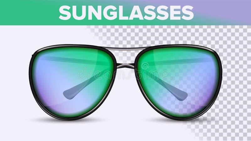 Aviador Unisex Sunglasses, sombras de moda del vector 3D ilustración del vector