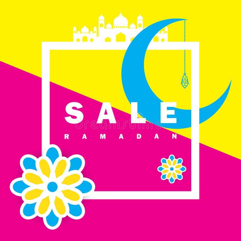 Aviador, venta, descuento, tarjeta de felicitación, etiqueta u ocasión de la bandera de Ramadan Kareem y de Eid Mubarak Celebrati ilustración del vector