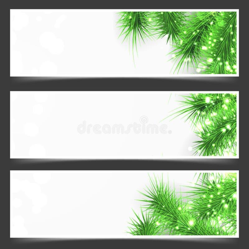Aviador verde brillante brillante de las ramas de árbol de abeto ilustración del vector