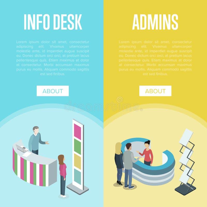 Aviadores de la administración y del mostrador de información ilustración del vector