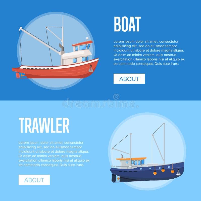 Aviadores de la compañía de la pesca con los barcos stock de ilustración