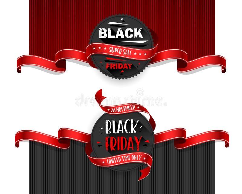 Aviadores de la venta de Black Friday fijados para el negocio Ilustración del vector ilustración del vector