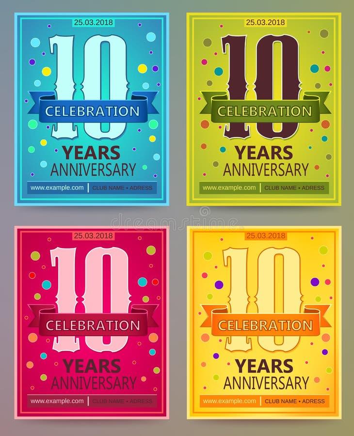 Aviadores del aniversario o plantillas del vector de las invitaciones 10 Diez años stock de ilustración