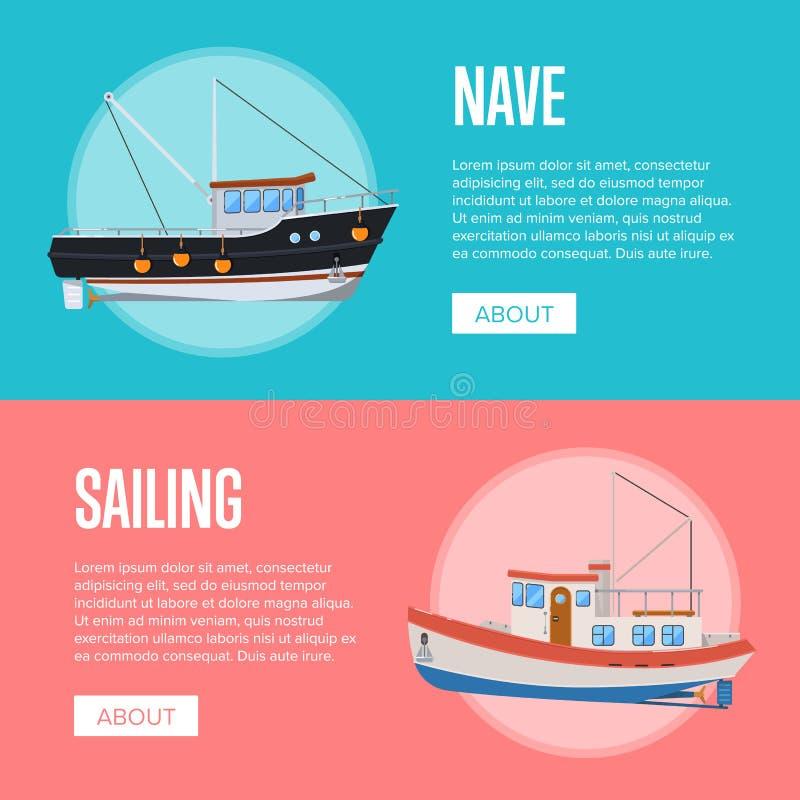Aviadores del negocio de los pescados con los barcos rastreadores de la pesca libre illustration