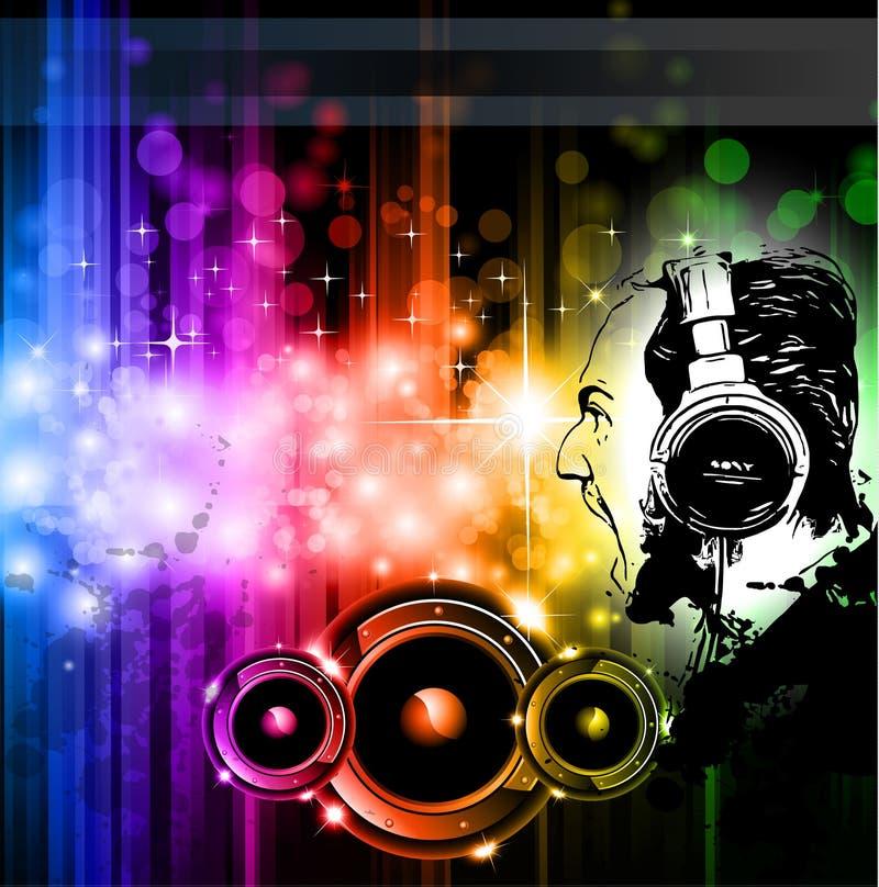 Aviadores gritando do disco do fundo do DJ ilustração royalty free