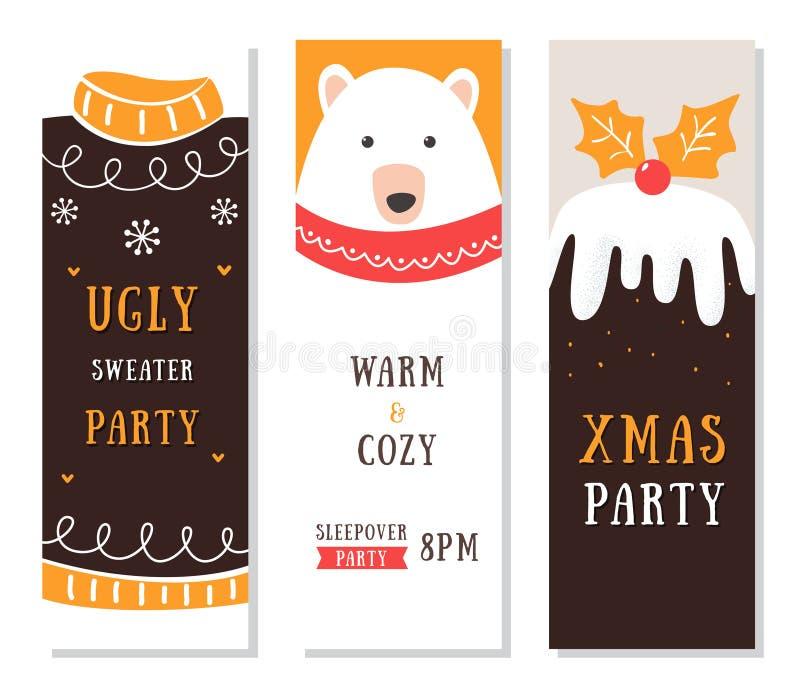 Aviadores, tarjetas e invitaciones de la Navidad Suéter y fiesta de pijamas feos stock de ilustración