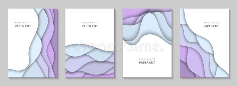 Aviadores verticales del vector con formas de ondas coloridas del corte del papel 3D estilo de papel abstracto, disposición de di libre illustration