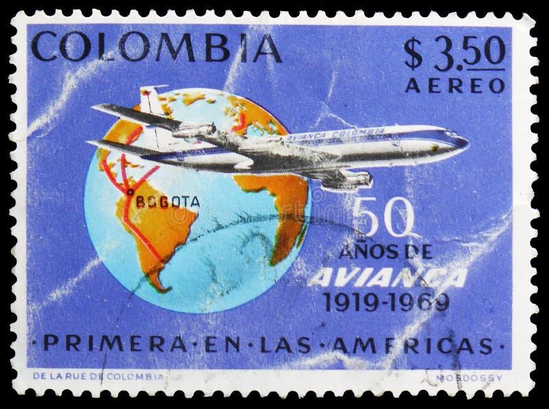Avianca Boeing 720-β της αερογραμμής, με τη σφαίρα διαδρομών, της 50ης επετείου, 8η διεθνής έκθεση γραμματοσήμων serie, circa 196 στοκ φωτογραφίες με δικαίωμα ελεύθερης χρήσης