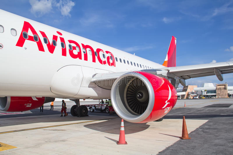 Avianca plane in Cancun royalty free stock photography