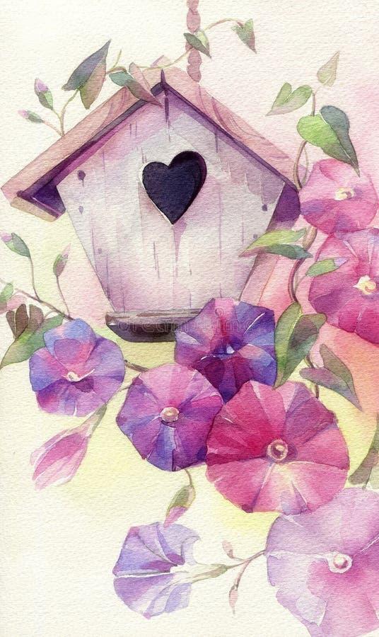 Aviario sveglio dell'acquerello nei fiori royalty illustrazione gratis