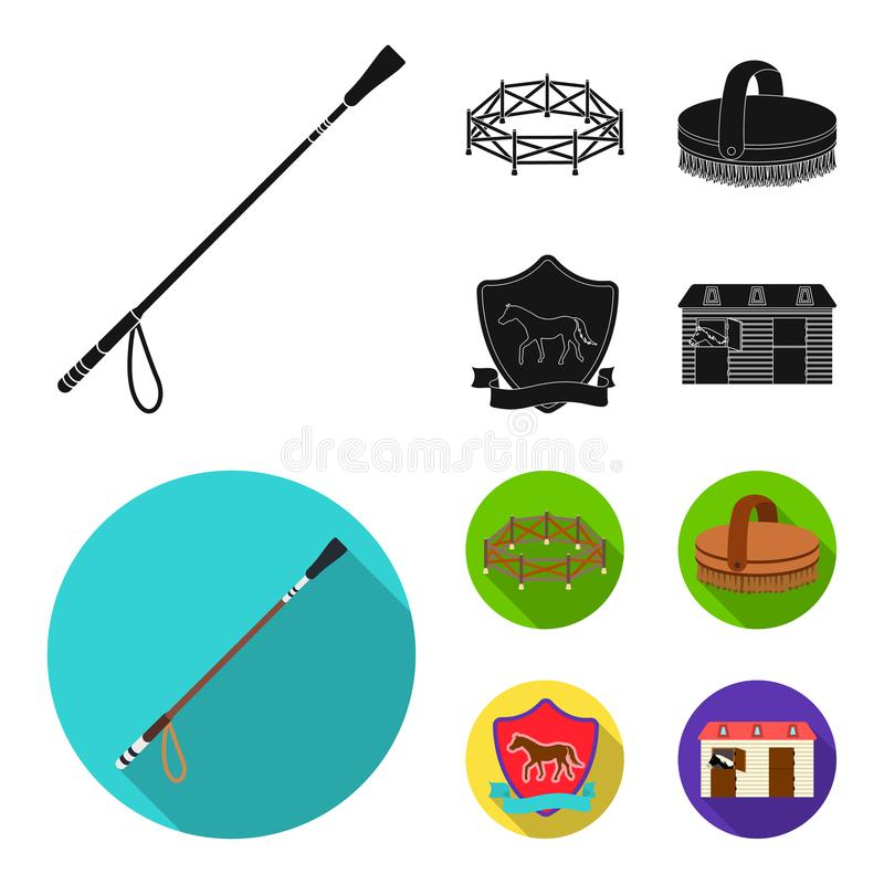 Aviary, whip, emblem, hippodrome .Hippodrome and horse set collection icons in black, flat style vector symbol stock vector illustration