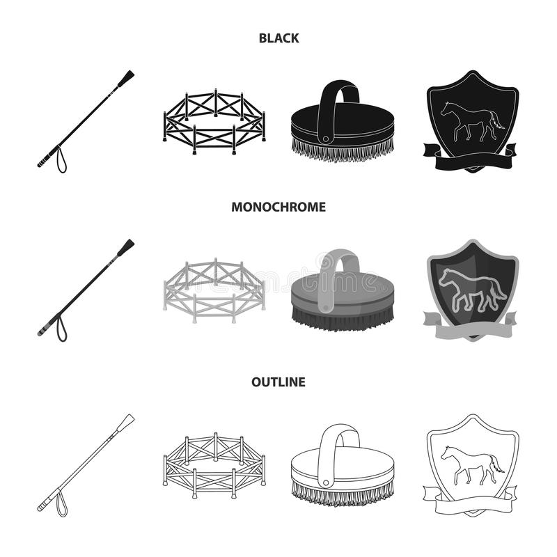 Aviary, whip, emblem, hippodrome .Hippodrome and horse set collection icons in black,monochrome,outline style vector vector illustration