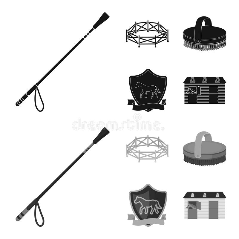 Aviary, whip, emblem, hippodrome .Hippodrome and horse set collection icons in black,monochrome style vector symbol vector illustration