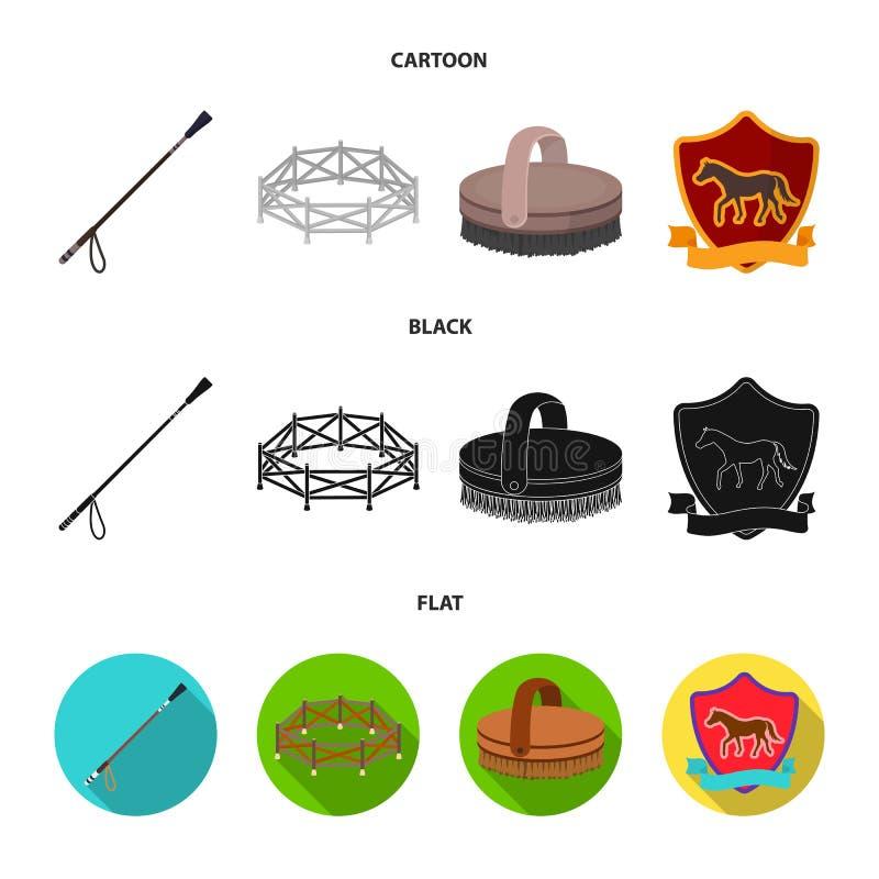 Aviary, whip, emblem, hippodrome .Hippodrome and horse set collection icons in cartoon,black,flat style vector symbol stock illustration