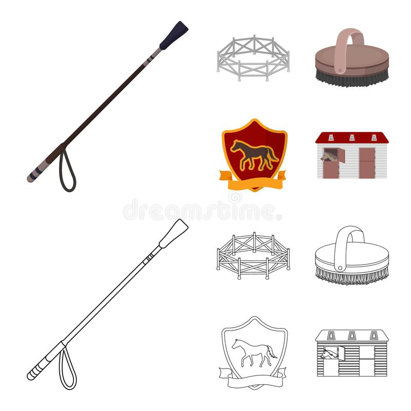 Aviary, whip, emblem, hippodrome .Hippodrome and horse set collection icons in cartoon,outline style vector symbol stock royalty free illustration