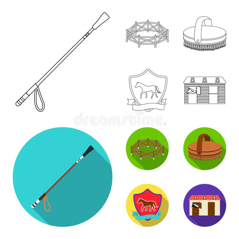 Aviary, whip, emblem, hippodrome .Hippodrome and horse set collection icons in outline,flat style vector symbol stock vector illustration