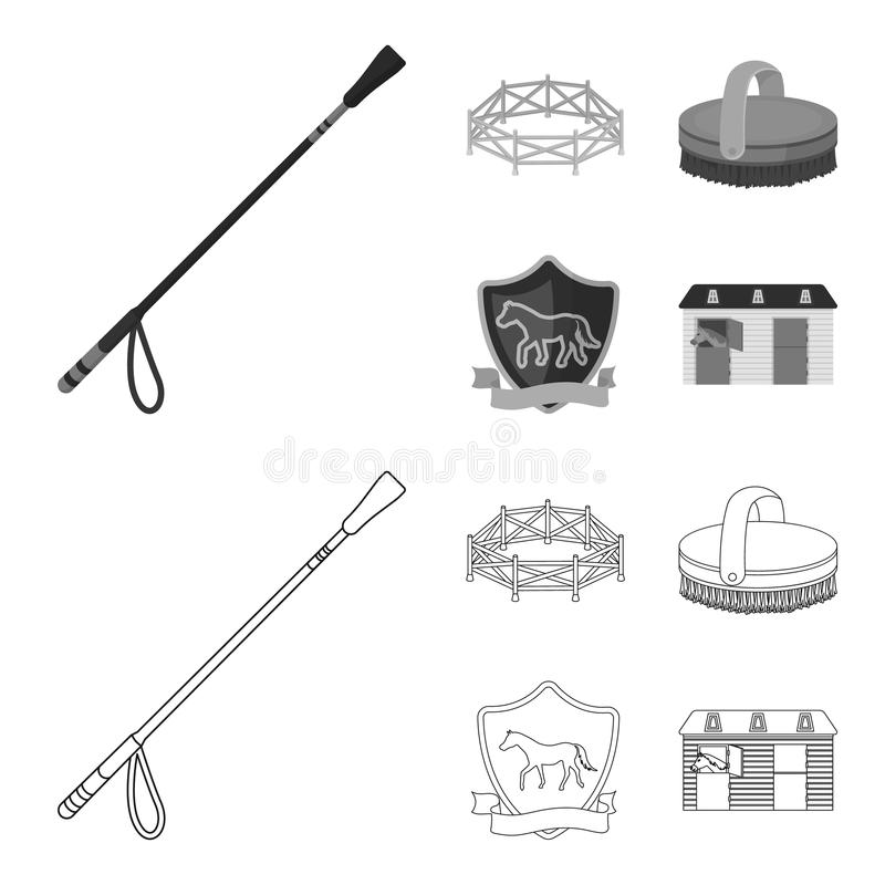 Aviary, whip, emblem, hippodrome .Hippodrome and horse set collection icons in outline,monochrome style vector symbol vector illustration