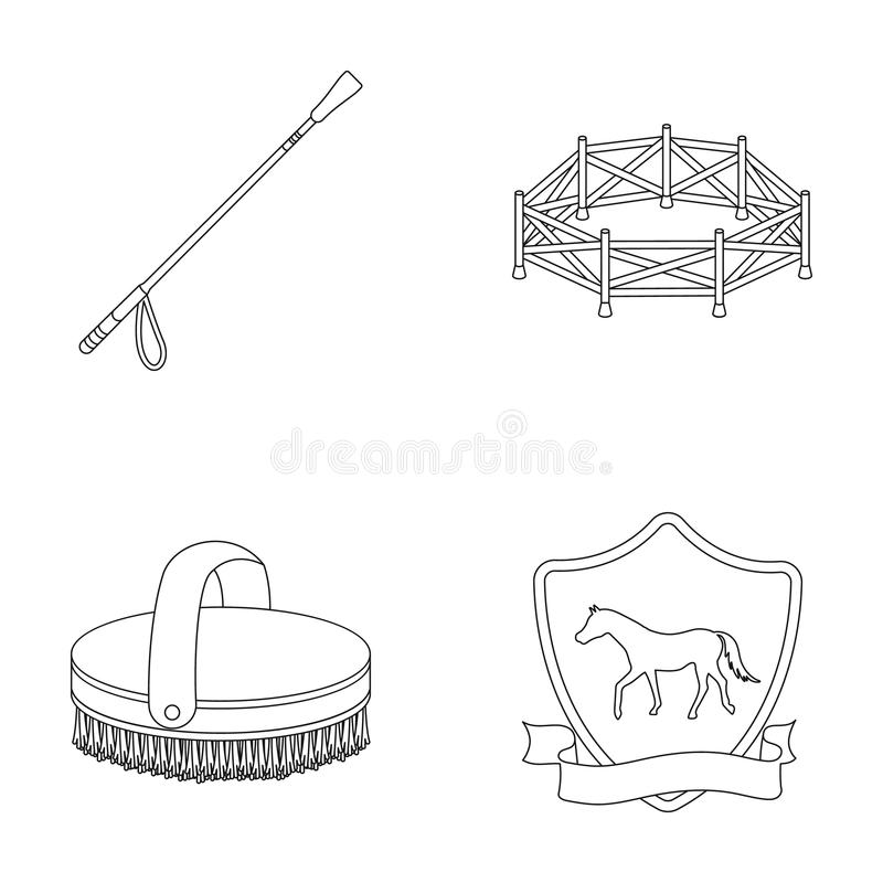Aviary, whip, emblem, hippodrome .Hippodrome and horse set collection icons in outline style vector symbol stock royalty free illustration