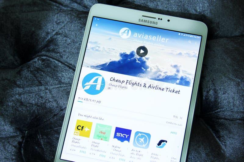 Aviaseller loty, linia lotnicza bileta wisząca ozdoba app zdjęcia royalty free