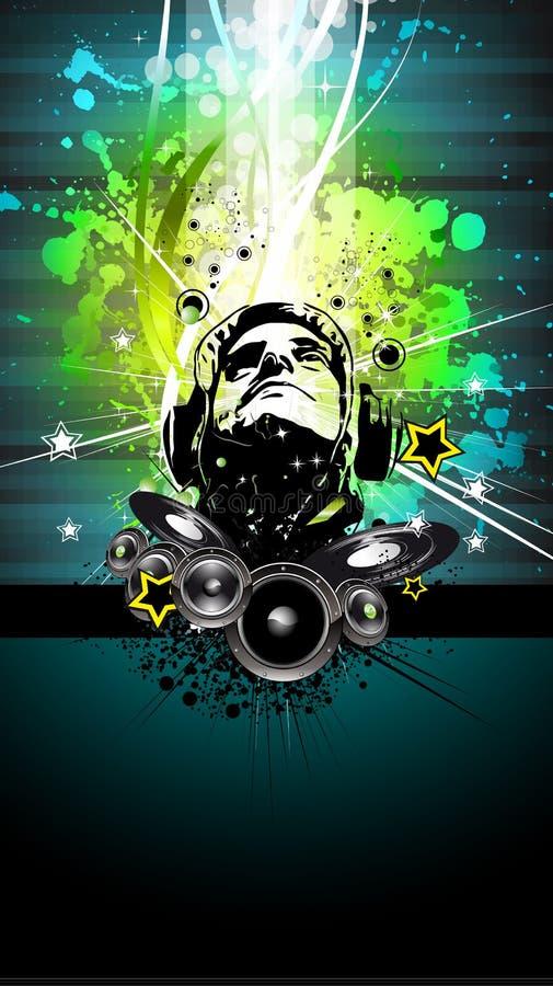 Aviateur coloré de disco du DJ avec des couleurs d'arc-en-ciel illustration de vecteur