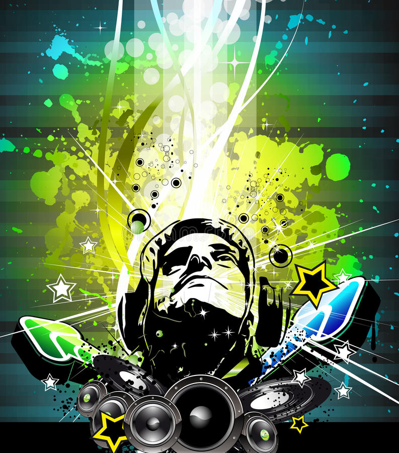 Aviateur coloré de disco du DJ avec des couleurs d'arc-en-ciel illustration stock